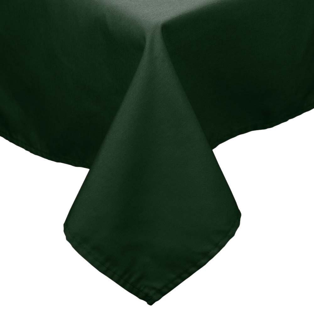 "72"" x 72"" Forest Green 100% Polyester Hemmed Cloth Table Cover"