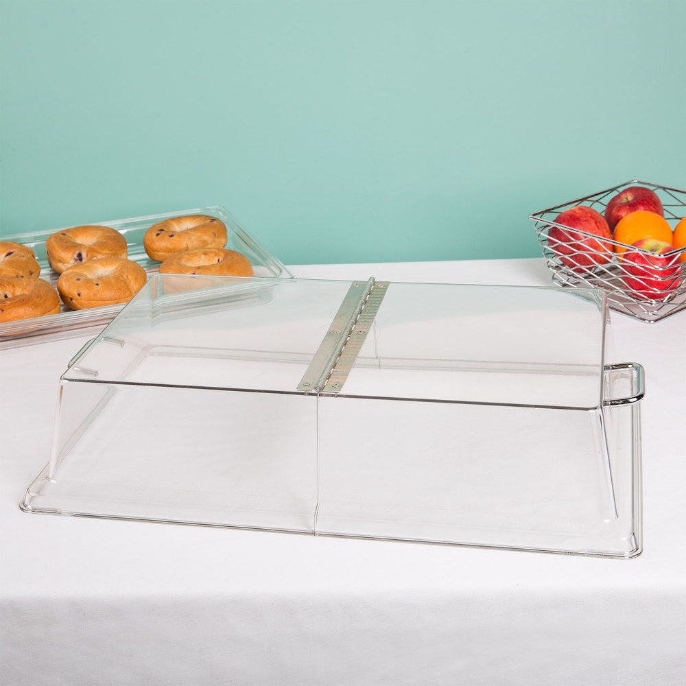 "Cambro RD1220CWH Camwear 12"" x 20"" Clear Dome Display Cover with Hinged Lid"