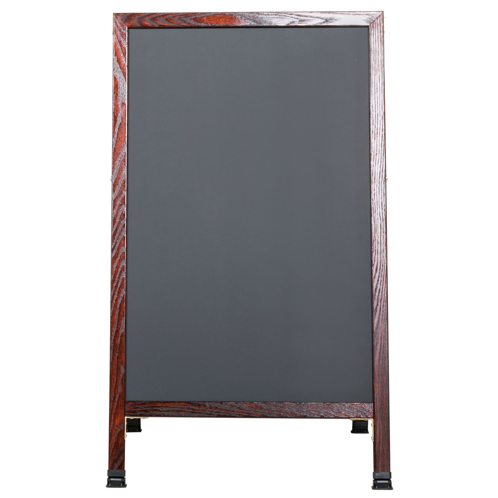 "Aarco 42"" x 24"" Cherry A-Frame Sign Board with Black Write On Chalk Board"