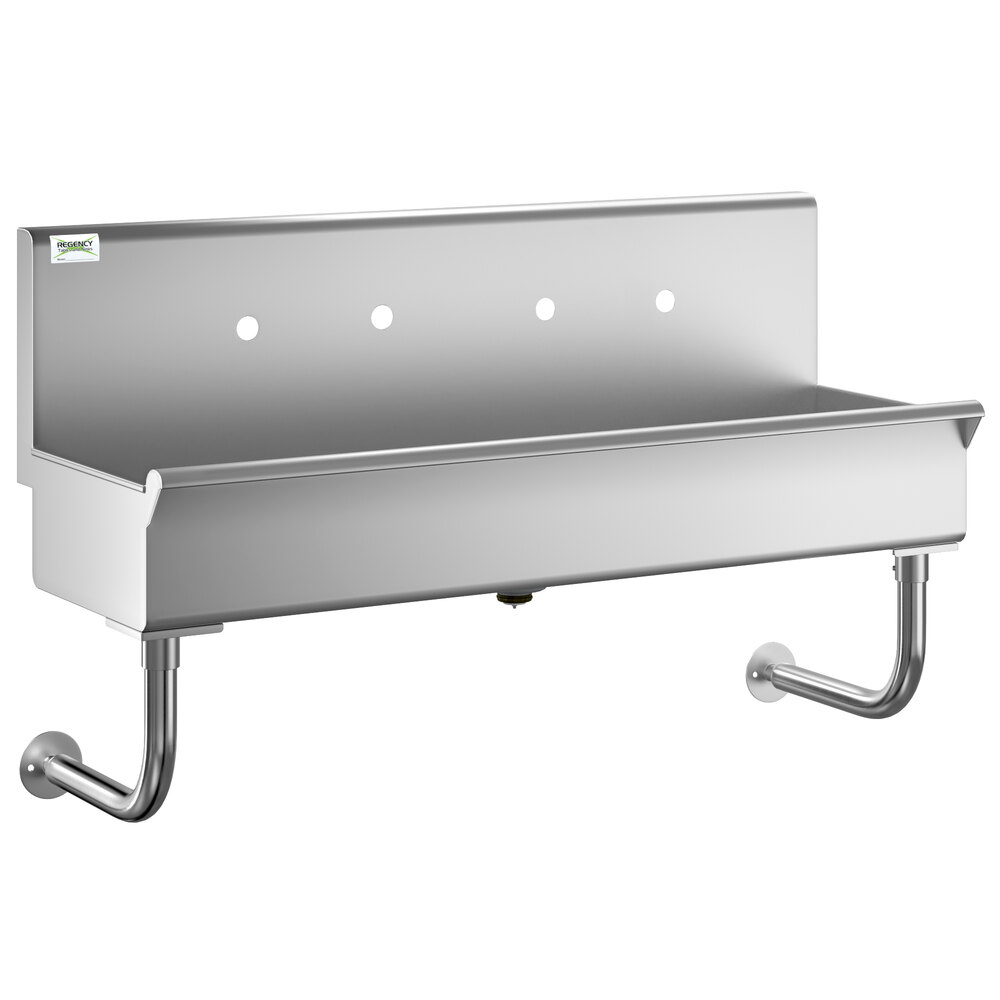 Regency 48 inch x 17 1/2 inch Multi-Station Hand Sink for 2 Wall Mounted Faucets