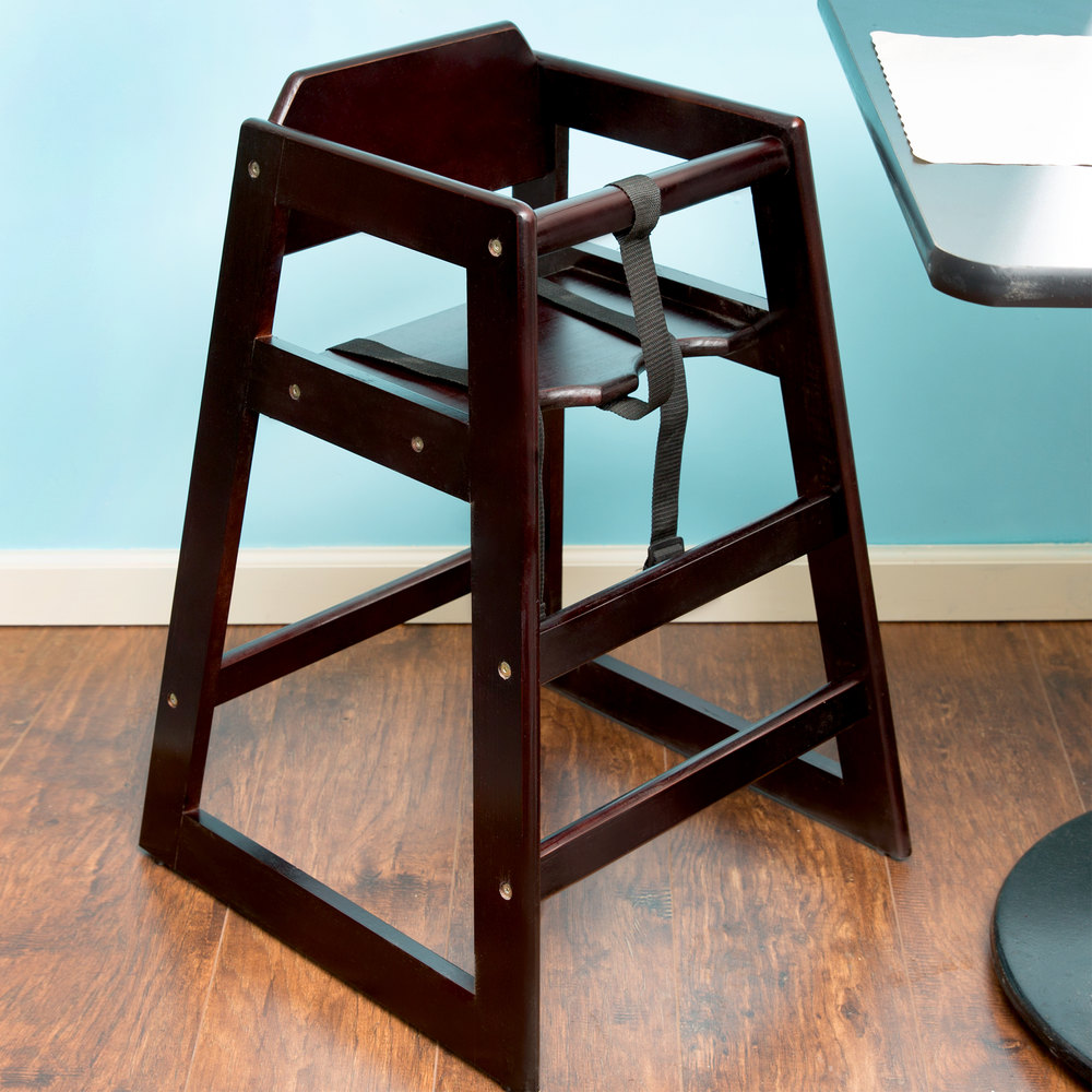 Lancaster Table & Seating Stacking Restaurant Wood High Chair with Dark Finish - Assembled