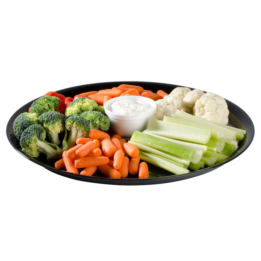 "WNA Comet A916BL Checkmate 16"" Black Round Catering Tray - 25/Case"