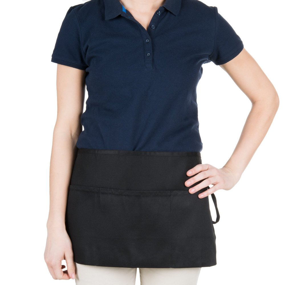 "Chef Revival 605WAFH-BK Customizable Black Front of the House Waist Apron - 12""L x 24""W"