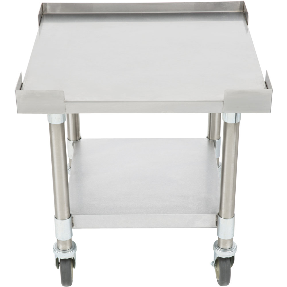 "APW Wyott SSS-24C 16 Gauge Stainless Steel 24"" x 24"" Medium Duty Cookline Equipment Stand with Galvanized Undershelf and Casters"