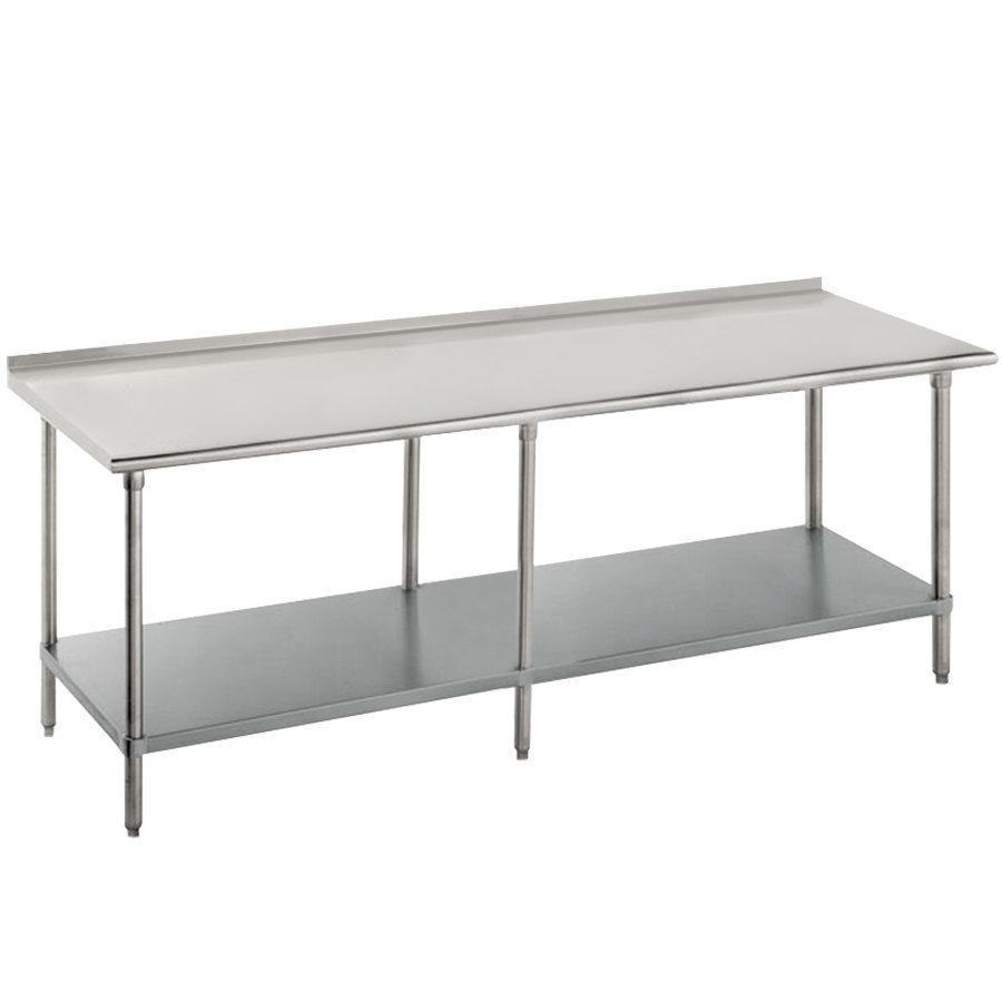 "Advance Tabco FAG-3611 36"" x 132"" 16 Gauge Stainless Steel Work Table with Undershelf and 1 1/2"" Backsplash"