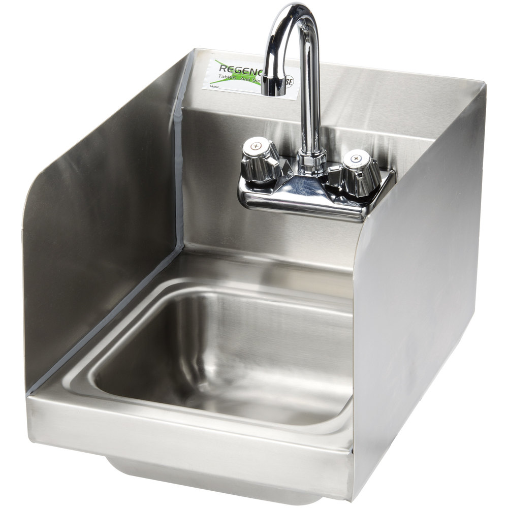 "Regency 12"" x 16"" Wall Mounted Hand Sink with Gooseneck Faucet and Sidesplash"