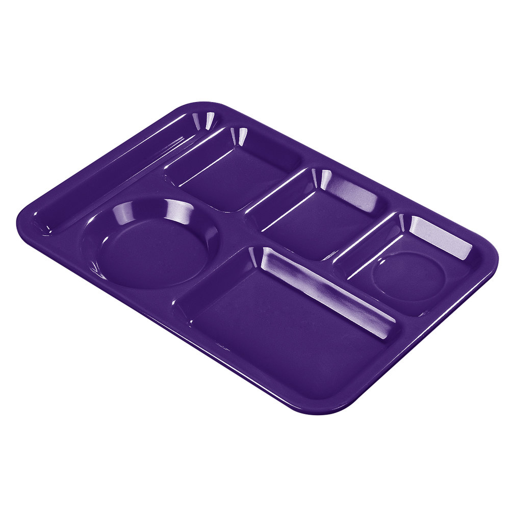 "Carlisle 4398087 10"" x 14"" Purple Heavy Weight Melamine Left Hand 6 Compartment Tray"