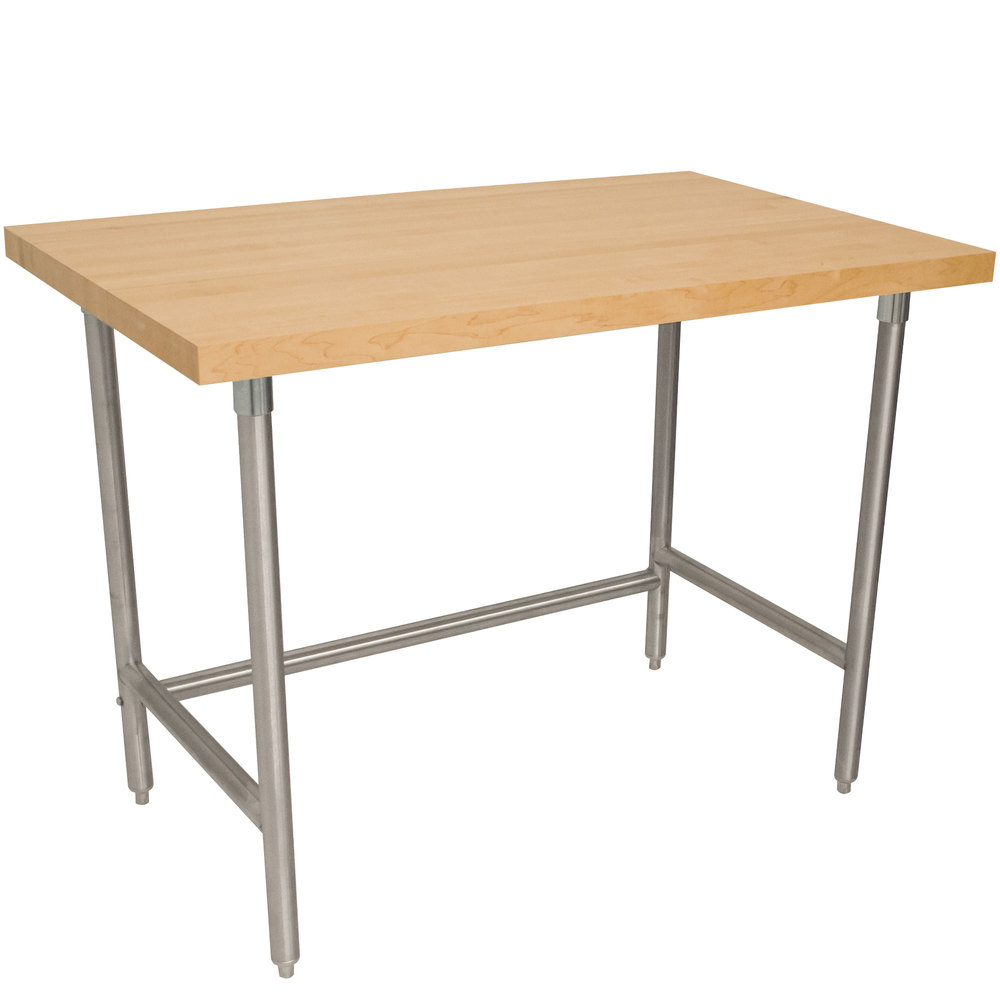 "Advance Tabco TH2G-244 Wood Top Work Table with Galvanized Base - 24"" x 48"""