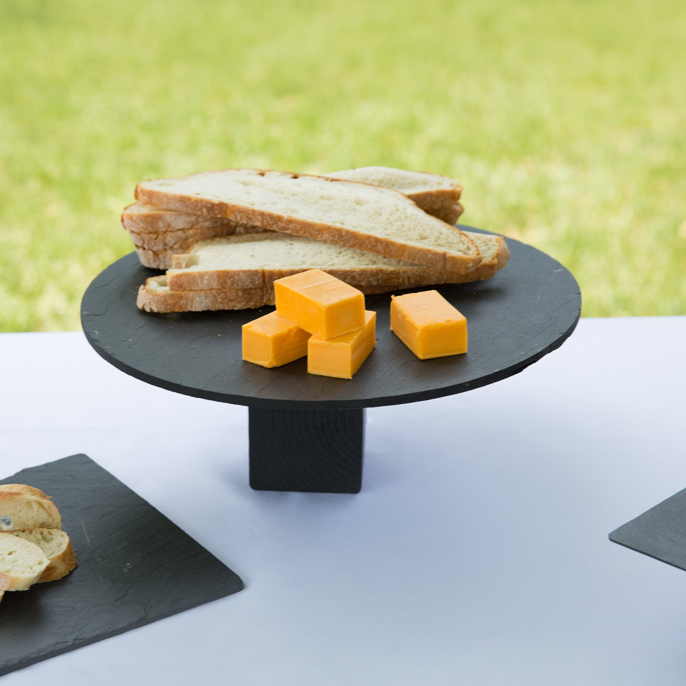 "Cal-Mil 1523-12-65 Black 12"" Round Slate Serving/Display Stone"
