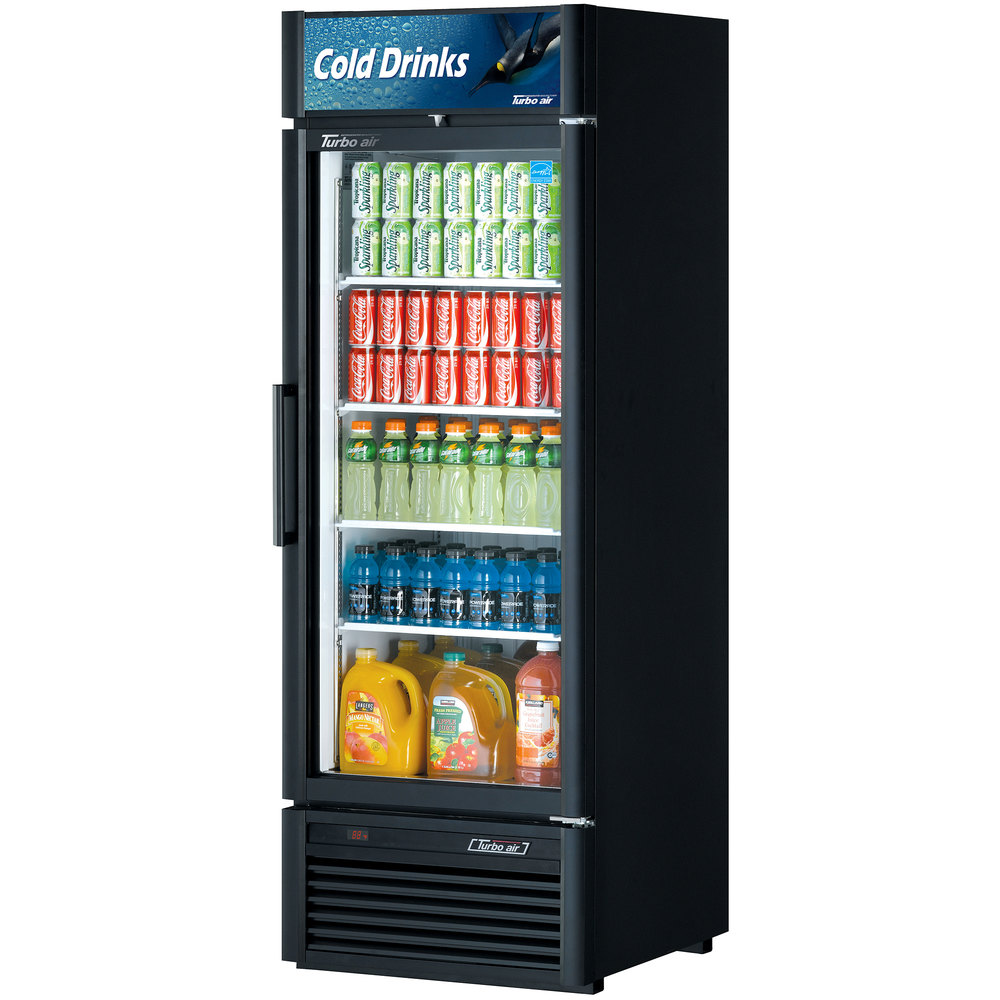 "Turbo Air TGM-23SD Black 27"" Super Deluxe Single Door Refrigerated Merchandiser - 21.1 Cu. Ft."