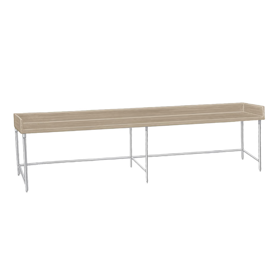 "Advance Tabco TBG-308 Wood Top Baker's Table with Galvanized Base - 30"" x 96"""