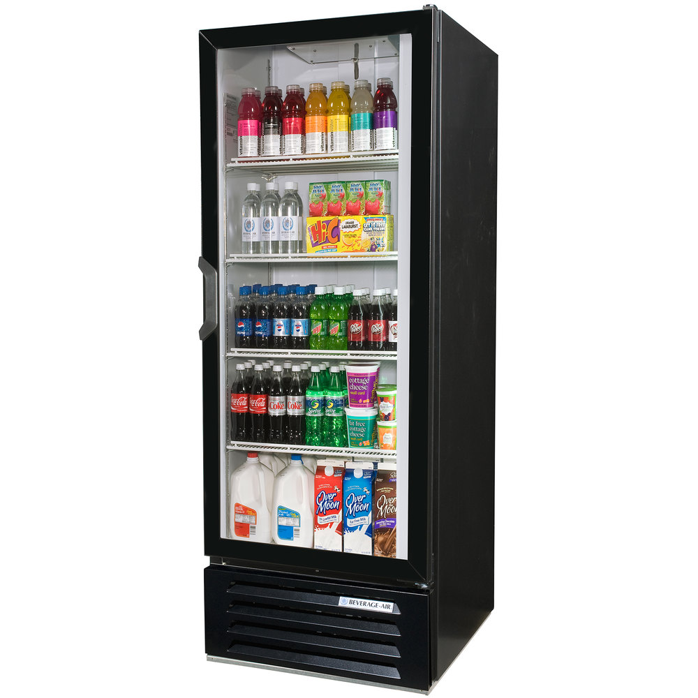 "Beverage Air LV12-1-B-LED Black LumaVue 24"" Refrigerated Glass Door Merchandiser with LED Lighting - 12 Cu. Ft."
