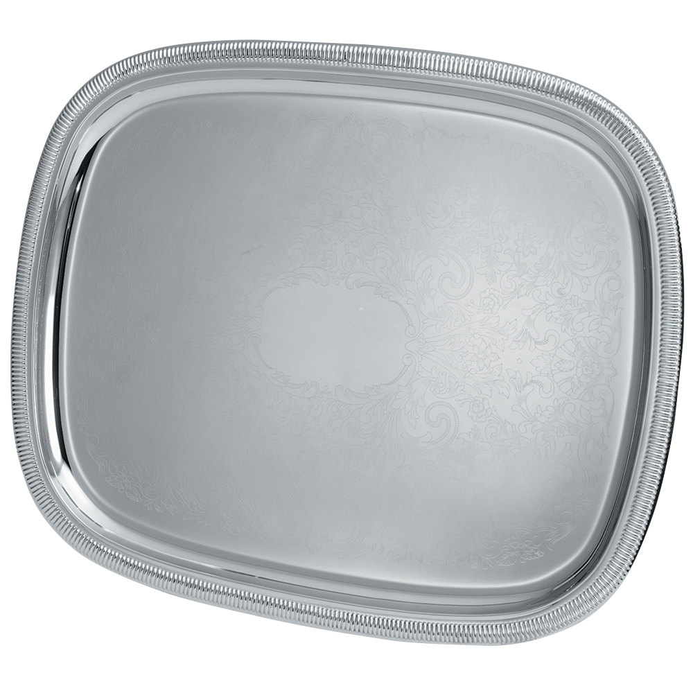 "Vollrath 82380 Elegant Reflections 17 7/8"" x 13 7/8"" Silver Plated Stainless Steel Oblong Catering Tray"