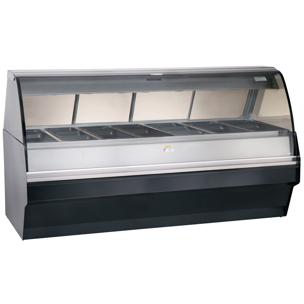 Alto-Shaam TY2SYS-96/PL SS Stainless Steel Heated Display Case with Curved Glass and Base - Left Self Service 96""