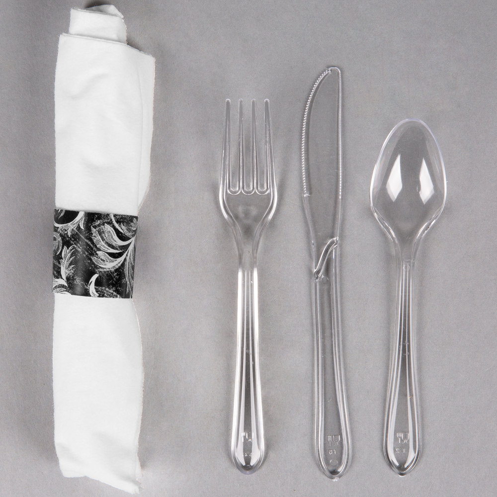 "Hoffmaster 119973 Damask CaterWrap 17"" x 17"" Pre-Rolled Linen-Like White Napkin and Clear Heavy Weight Plastic Cutlery Set - 50/Pack"