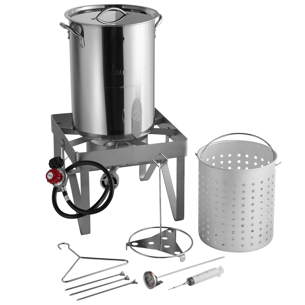 Backyard Pro Weekend Series 30 Qt Turkey Fryer Kit with Stainless Steel Stock Pot and Accessories 55,000 BTU Thanksgiving Outdoor Cooking