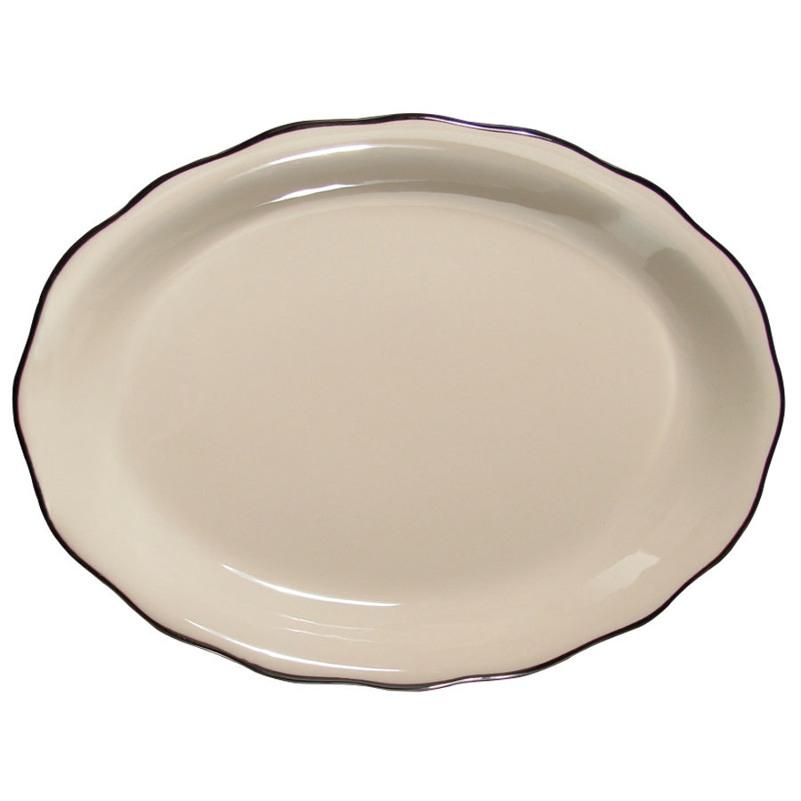 "CAC SC-13B Seville 11 5/8"" x 8 1/2"" Ivory (American White) Scalloped Edge China Platter with Black Band - 12/Case"