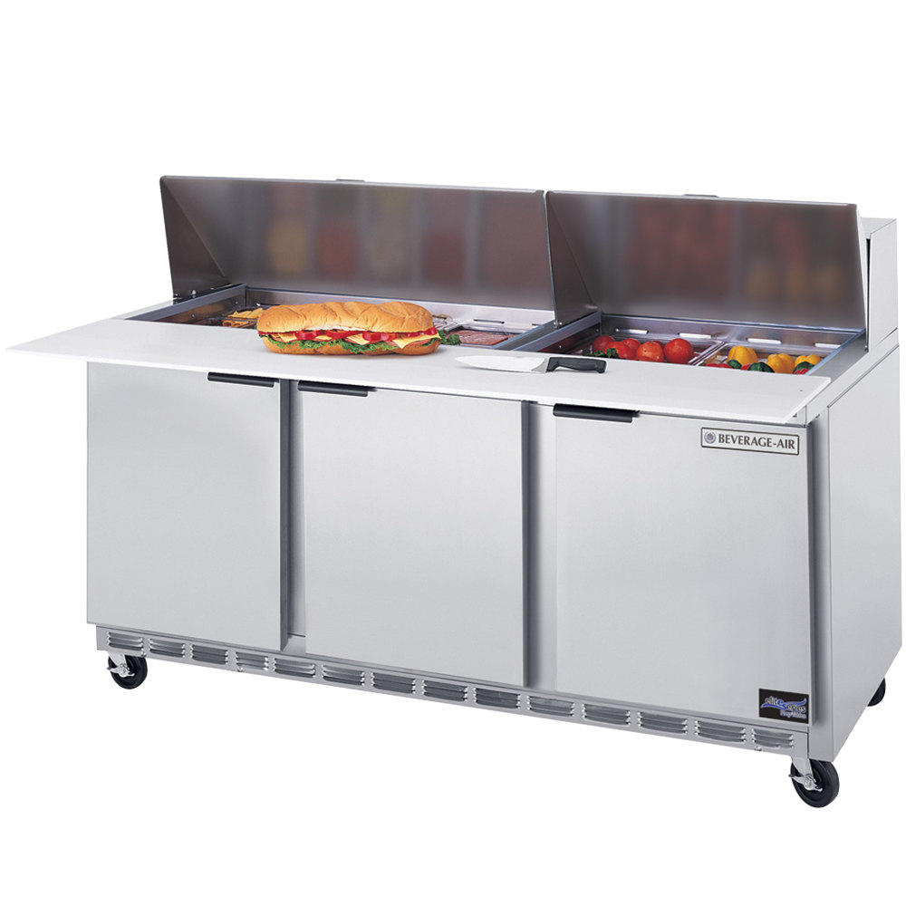 "Beverage Air SPE72-10C 72"" 3 Door Cutting Top Refrigerated Sandwich Prep Table with 17"" Wide Cutting Board"