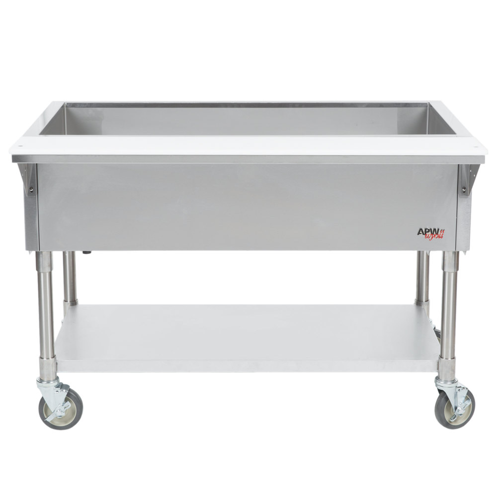 APW Wyott PCT-3 Three Pan Portable Cold Food Table with Coated Legs and Undershelf