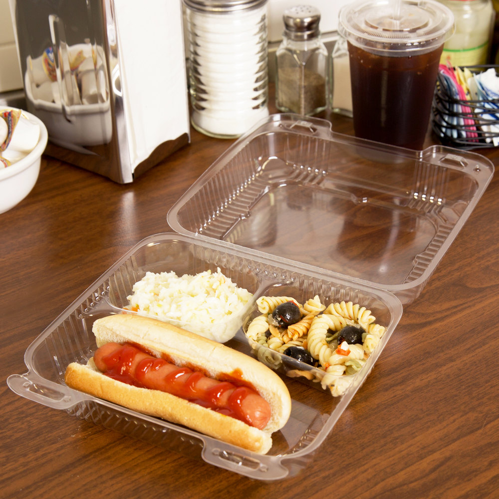 "Durable Packaging PXT-833 Duralock 8"" x 8"" x 3"" Three Compartment Clear Hinged Lid Plastic Container - 250/Case"