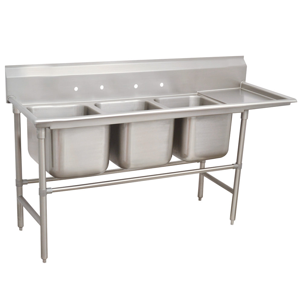 Right Drainboard Advance Tabco 94-43-72-36 Spec Line Three Compartment Pot Sink with One Drainboard - 119""