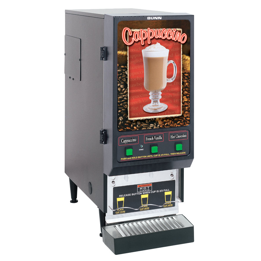 Bunn SET00.0197 FMD-3 BLK Fresh Mix Cappuccino / Espresso Machine Cafe Latte Dispenser with 3 Hoppers - 120V