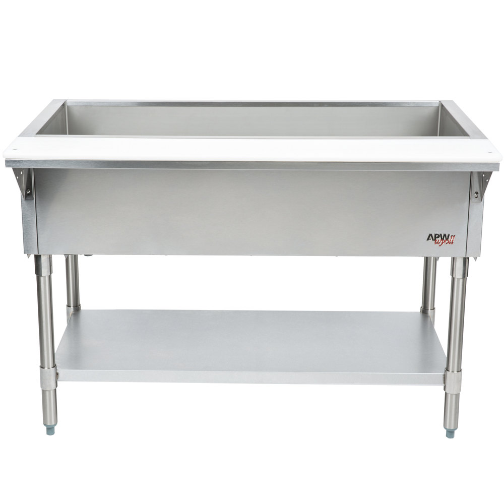 APW Wyott CT-5S Five Pan Stationary Cold Food Table with Stainless Steel Legs and Undershelf