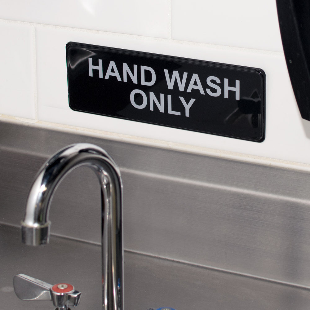 "9"" x 3"" Black and White Hand Wash Only Sign"