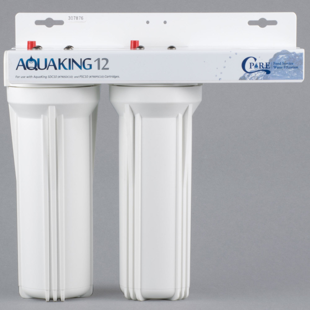 "C Pure AQUAKING12 10"" Dual Cartridge Countertop Steam Equipment Water Filtration System - 25 Micron Rating and 3 GPM"