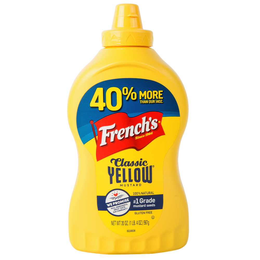 French's 20 oz. Classic Yellow Mustard Squeeze Bottle - 12 ...