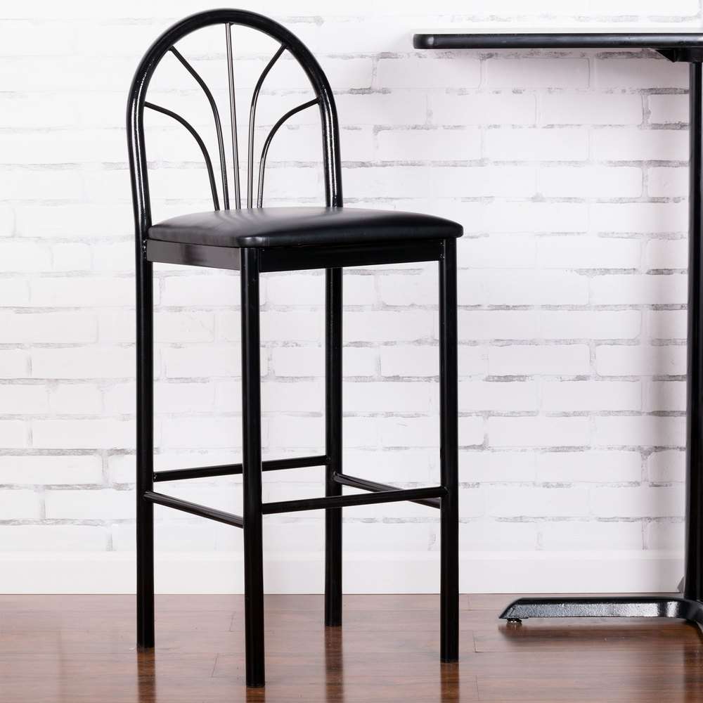 "Lancaster Table & Seating Fan Back Bar Height Cafe Chair with 2"" Black Padded Seat"