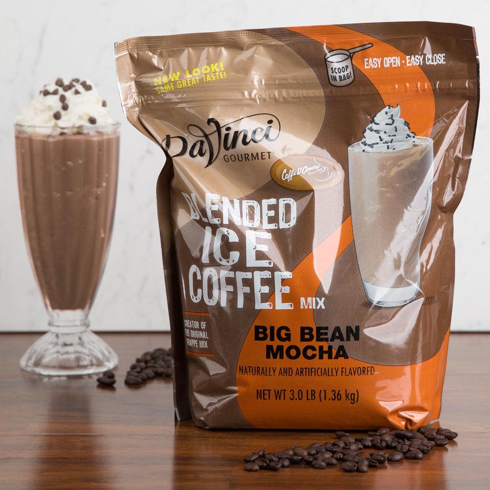 Coffee Bean Iced Mocha Latte Recipe: DaVinci Gourmet Ready To Use Big Bean Mocha Mix