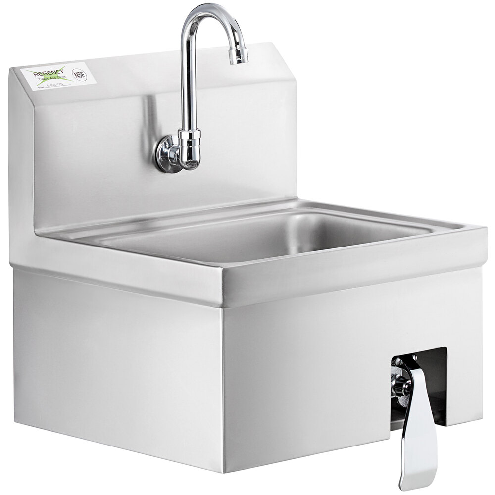 Regency 17 inch x 15 inch Hands Free Hand Sink with Knee Operated Valve