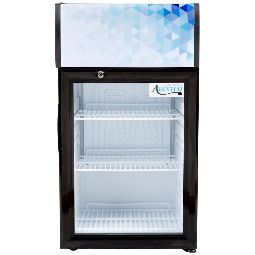 Avantco CLM40 Black Countertop Display Refrigerator with Swing Door ...
