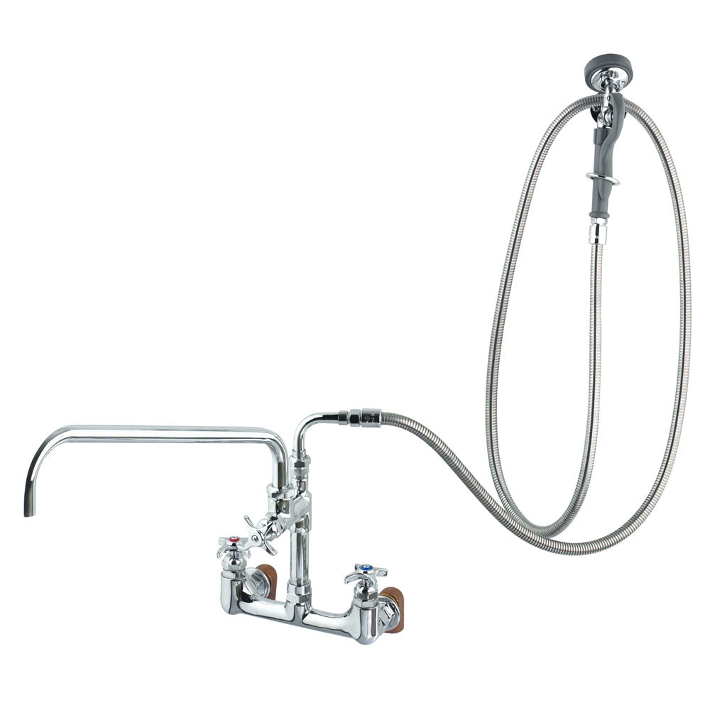 "T&S B-0284 Wall Mounted Pre-Rinse Faucet with Adjustable 8"" Centers, Angled Spray Valve, 4-Arm Handles, 104"" Hose, 12"" Add-On Faucet, 90 Degree Swivel Adapter, and Installation Kit"