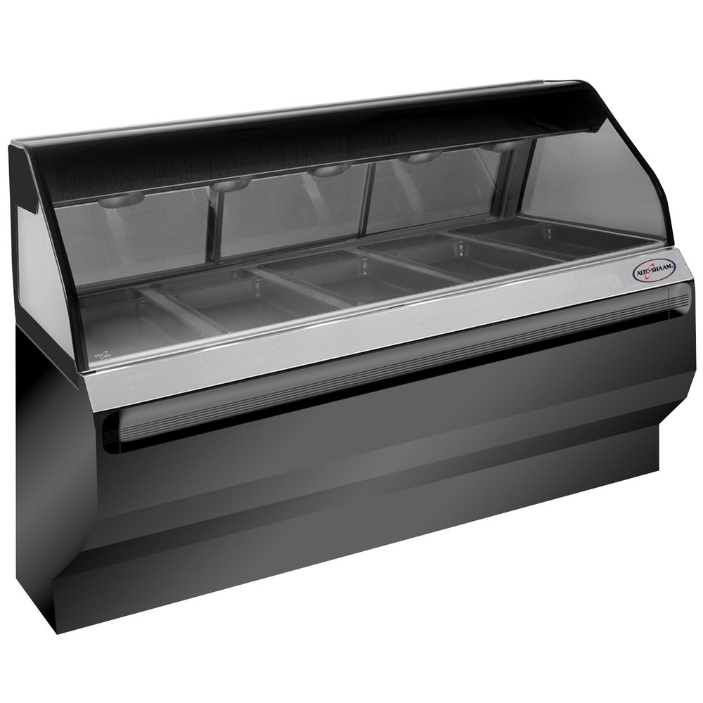 Alto-Shaam ED2SYS-72/PR SS Stainless Steel Heated Display Case with Curved Glass and Base - Right Self Service 72""