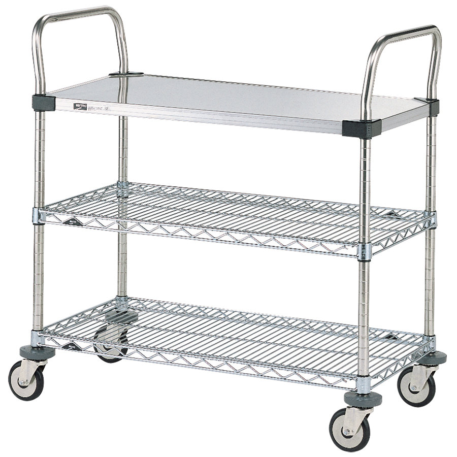 "Metro MW401 Super Erecta 18"" x 24"" x 38"" Three Shelf Standard Duty Utility Cart"