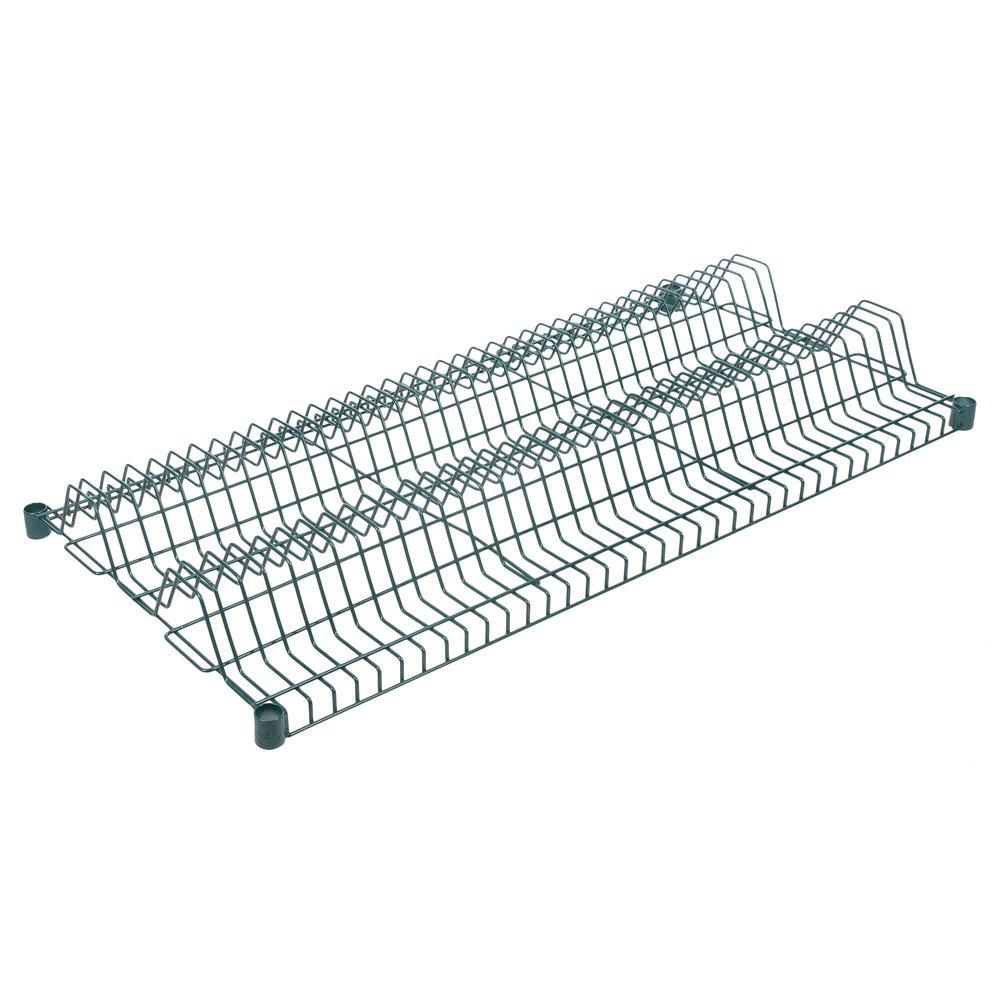 Regency 24 inch x 48 inch Green Epoxy Wire Drying Rack Shelf - 1 1/4 inch Slots