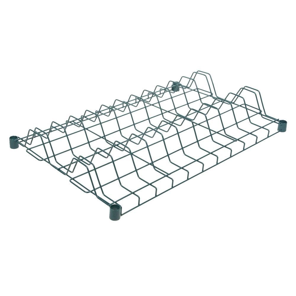 Regency 24 inch x 36 inch Green Epoxy Wire Drying Rack Shelf - 3 inch Slots