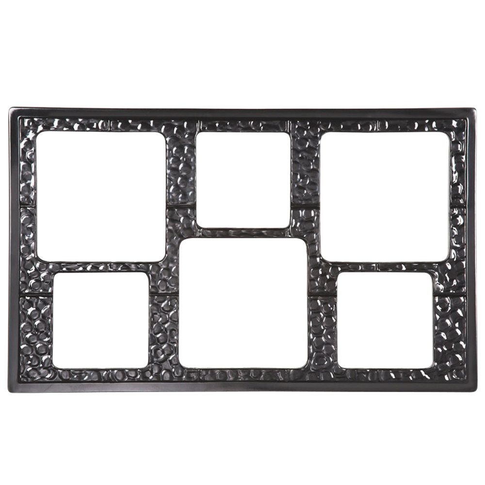 GET ML-162 Full Size Black Melamine Adapter Plate with Six Cut-Outs for Six Square Crocks