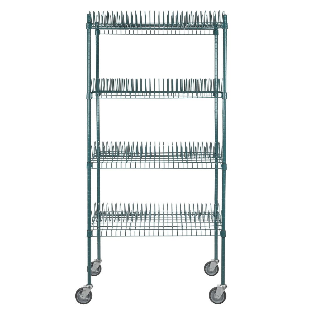 Regency 24 inch x 36 inch Green Epoxy Drying Rack 4-Shelf Kit with 64 inch Posts and Casters - 1 1/4 inch Slots