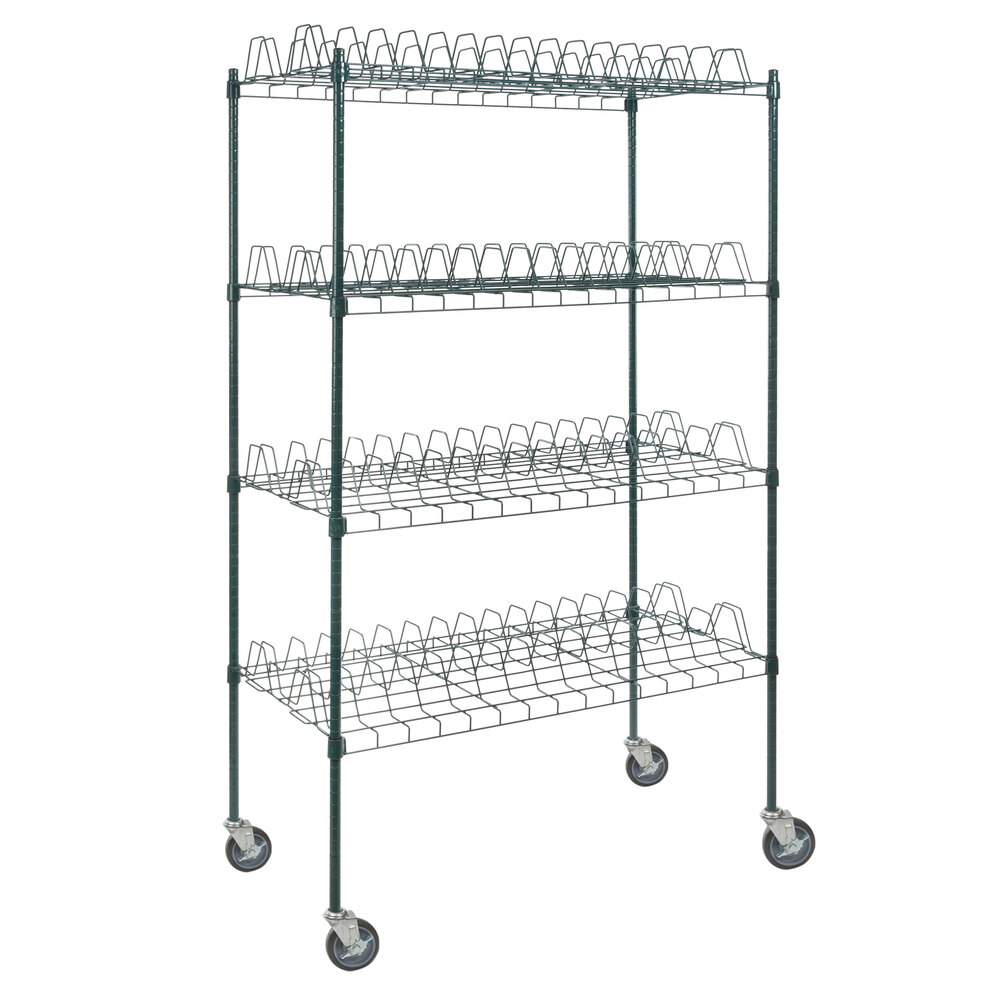 Regency 24 inch x 48 inch Green Epoxy Drying Rack 4-Shelf Kit with 64 inch Posts and Casters - 3 inch Slots