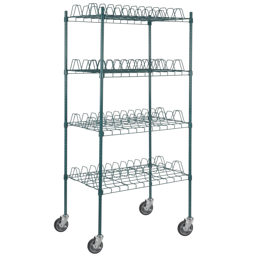 Regency 24 inch x 36 inch Green Epoxy Drying Rack 4-Shelf Kit with 64 inch Posts and Casters - 3 inch Slots