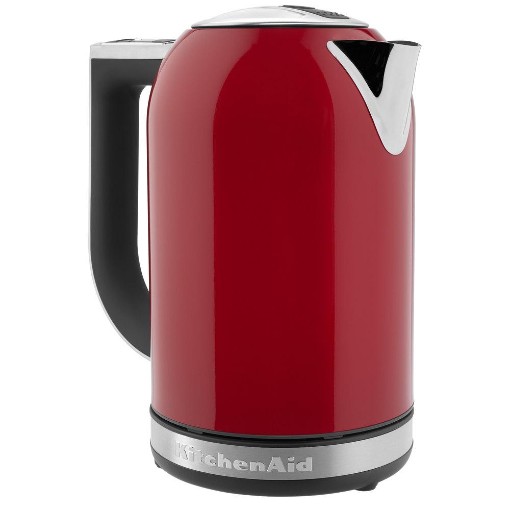 KitchenAid KEK1722ER 1.7 Liter Stainless Steel Empire Red Electric Kettle -  120V, 2400W