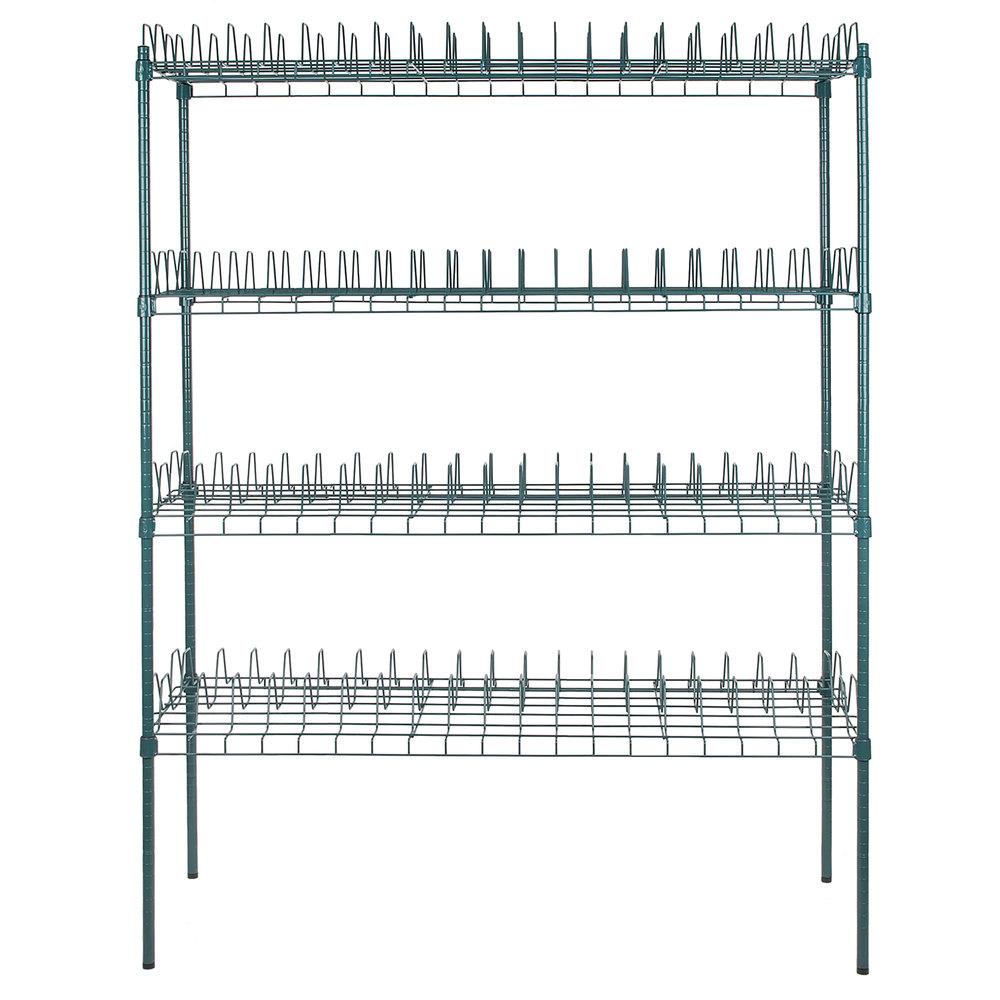 Regency 24 inch x 60 inch Green Epoxy Drying Rack 4-Shelf Kit with 74 inch Posts - 3 inch Slots