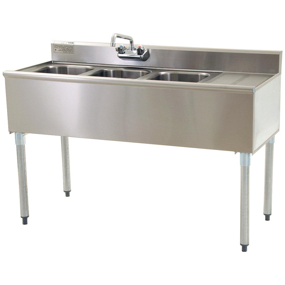 "Eagle Group B4R-22 48"" Underbar Sink with Three Compartments and Right Drainboard"