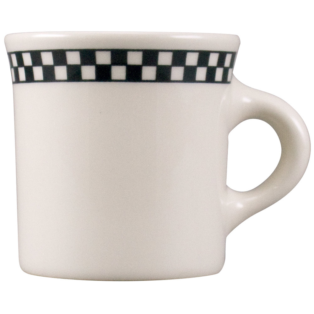 Homer Laughlin Black Checkers 8.75 oz. Creamy White / Off White China Mug 36 / Case