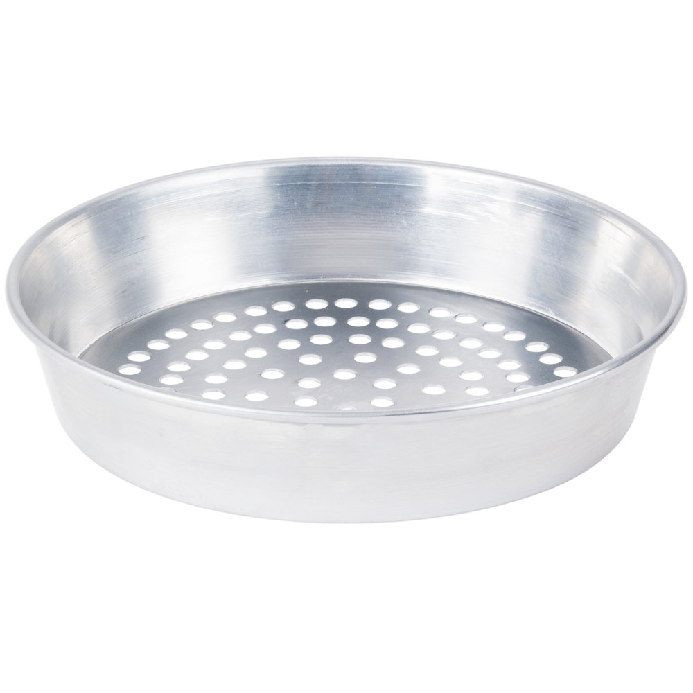 "American Metalcraft SPA90162 16"" x 2"" Super Perforated Standard Weight Aluminum Tapered / Nesting Pizza Pan"