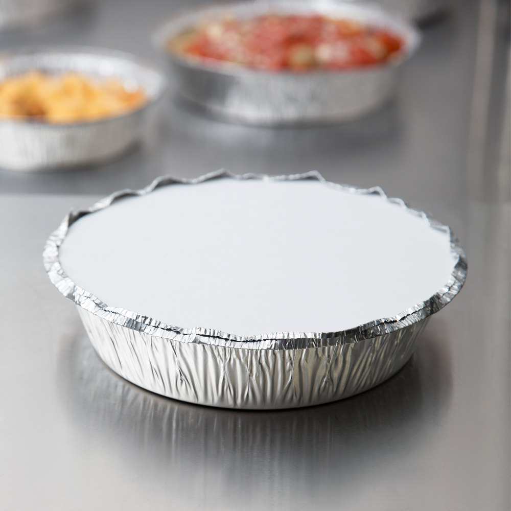 "7"" Round Foil Take-Out Pan with Board Lid - 200/Case"