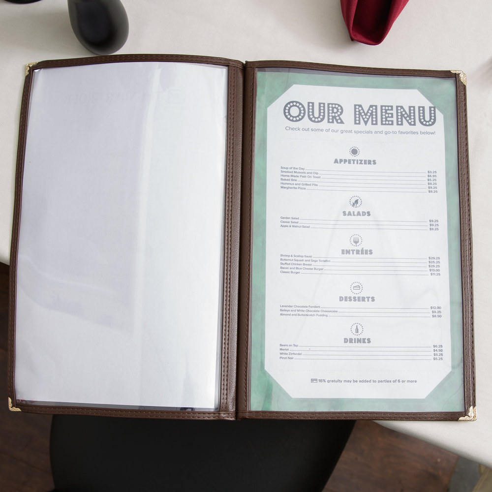 "8 1/2"" x 14"" Tall Four Pocket Menu Cover - Brown"